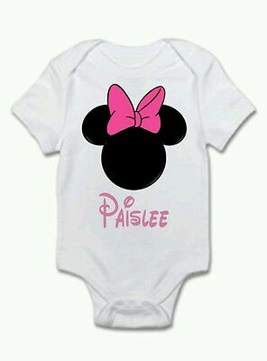 Custom Baby Bodysuit Personalized Disneyland Minnie Mouse Add a Name
