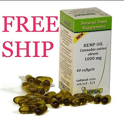 NEW HEMP OIL 1000 mg ,PURE COLD PRESSED OIL,40 SOFT GEL CAPS,FREE SHIPPING