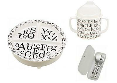 Sugarbooger Divided Plate, Sippy Cup, and Silverware Set-Vintage Alphabet, New,