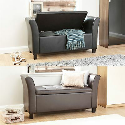 Verona Leather Window Seat Ottoman Storage Box Large Blanket Box Bench Footstool
