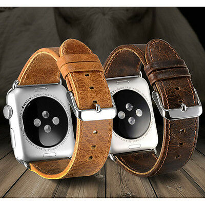 Real Leather Buckle Wrist Watch Band Strap Belt For iWatch Apple Watch
