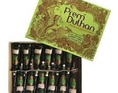 12 Natural Prem Dulhan Brown Henna Cones Temporary Tattoo Body Art Ink 25 gms