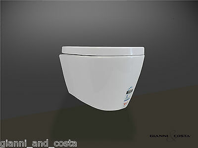 Toilet Suite Ceramic Wall Hung Concealed Pneumatic Cistern & Hard Uf Seat Gc89H