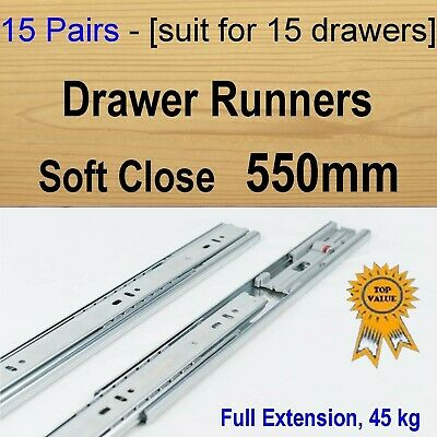 15 pairs soft close ball bearing drawer runners / Slides Kitchen Vanity - 550mm