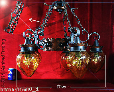 Superb 1940s French Salvaged art & craft church central light 5-arm chandelier