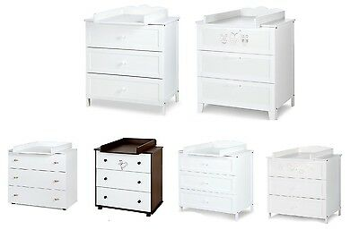 Baby White Wulnut Cream Chest of Drawers with Removable Changing Table