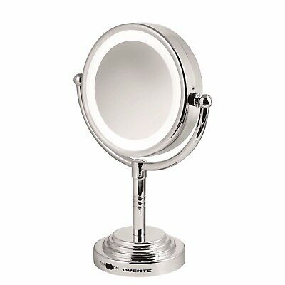 Double Sided Cosmetic Mirror LED Lighted Makeup Compact Stand 5x Magnification