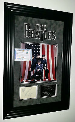 * RARE The Beatles Signed Dislpay Photo Picture Display * JOHN LENNON SIGNED