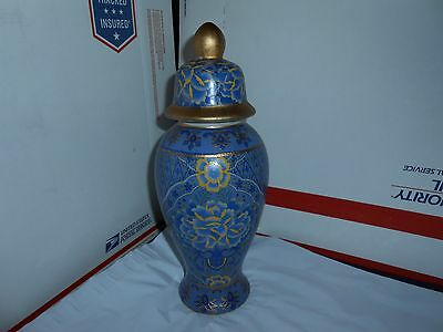 "Beautiful Vtg/Antique Gold Guilded Chinese Decorated 13"" Blue Porcelain Urn Jar"