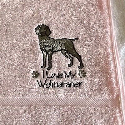 Weimaraner Dog Embroidered Towels, Dog Gift, Personalise, Embroidery