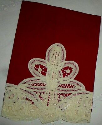 Vintage Red Linen With White Lace Applique Holiday Tea Towel