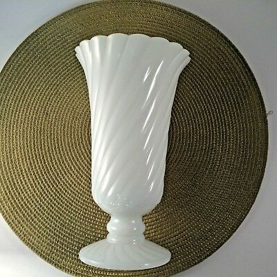"Milk Glass Pedestal Vase Ribbed No Markings 9"" Tall White Vase  Wedding  Shower"