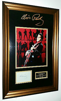 * RARE ELVIS PRESLEY Signed Display AUTOGRAPH Photo Picture Display *