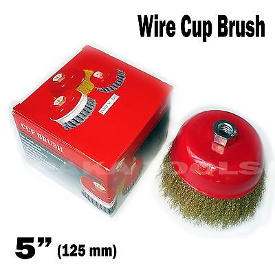 """5"""" x 5/8"""" Arbor FINE Crimped Wire Cup Wheel Brush - For Angle Grinders"""