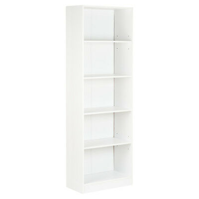 Hartleys 5 Tier White Wooden Freestanding Bookcase/bookshelf Storage Unit Shelf