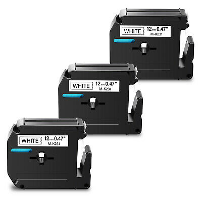 3PK For Brother P-touch  PT-65 PT-85 Label Tape M-K231 MK231 Black on White