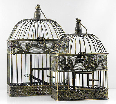 Wedding Bird Cages Decoration Give Away Gift Small and Large Golden Black 2 Set