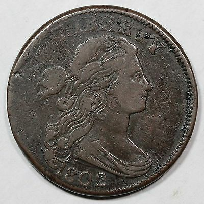 """1802 s-225 R3 Draped Bust Large Cent Coin """"Incused Denticles"""" 1c"""