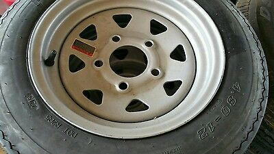 New 480X12 4 Ply High Speed Trailer Tire & Wheel Assembly 5 Hole- Lowest $