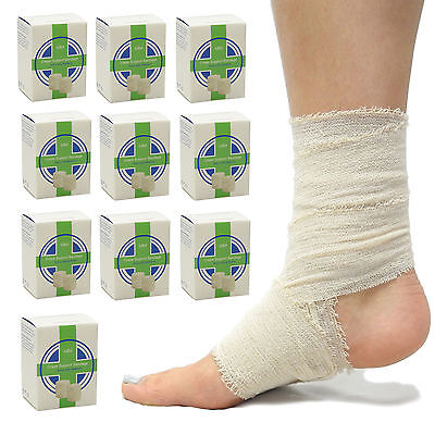 10 Pack of Premium Thick Cotton Crepe First Aid Bandages Washable Re-Usable 5cm