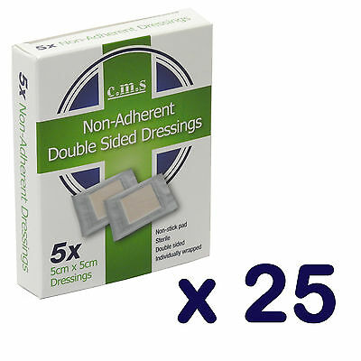 25 Boxes of Premium Non-Adherent First Aid Non Stick Wound Dressing Pads 5 x 5cm