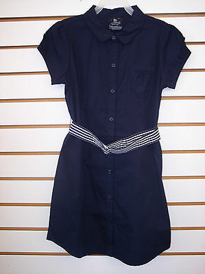 Girls Navy Button Front Uniform Dress w/ Belt Size 4/5 - 14/16