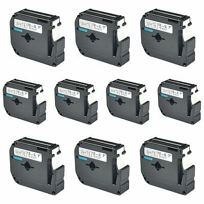 10PK 12mm For Brother P-touch PT-100/110 Label M-K231 M-231 Black on White Tape