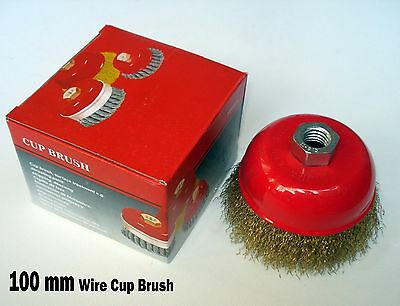 """4"""" x 5/8"""" Arbor FINE Crimped Wire Cup Wheel Brush - For Angle Grinders"""