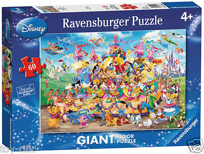 Disney Characters 60 Piece Giant Floor Puzzle By Ravensburger - New & Sealed!