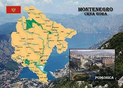 Montenegro Country Map Crna Gora New Postcard