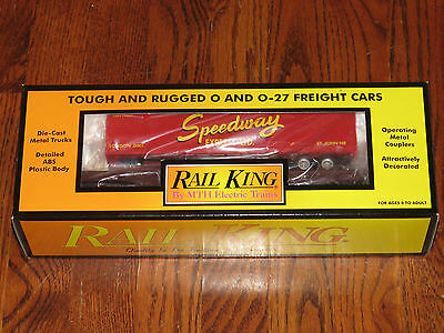 MTH RailKing O Scale Canadian Pacific CP Rail Flat Car With Speedway Trailer NIB
