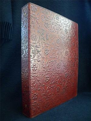 Luxury Handmade Leather A4 Ring Binder Portfolio or Stamp Album - Floral Design