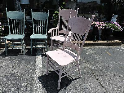 Antique Shabby Chic Pressed Back Chairs 3 sides & One Arm Ptd Pale Pink & Blue