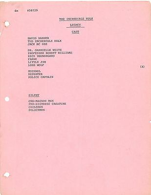 * THE INCREDIBLE HULK - KINDRED SPIRITS (1979) Rev. Draft Script KIM CATTRALL
