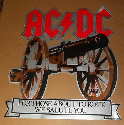 AC/DC For Those About to Rock Cardboard 80s Display Poster 26.5x30.5 MEGA RARE
