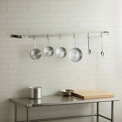 """72"""" Wall Mounted Restaurant Stainless Steel Single Line Pot Rack with 6 Hooks"""