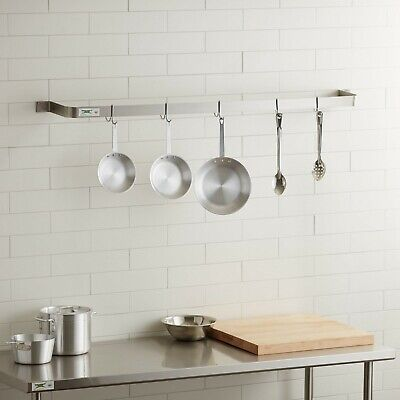 """60"""" Wall Mounted Restaurant Stainless Steel Single Line Pot Rack with 5 Hooks"""