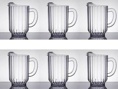 6-Pack Choice 60 oz. Clear Plastic Round Restaurant Beverage Pitchers 69060P