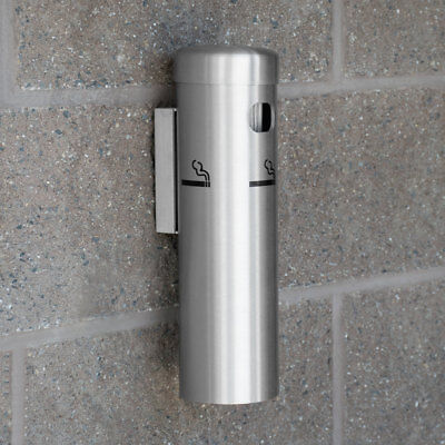 """12"""" x 3"""" Aluminum Satin Silver Wall Mounted Round Cigarette / Ashtray Receptacle"""
