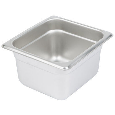 "1/6 Size NSF 1.8 Quart Stainless Steel Silver Steam Table / Hotel Pan - 4"" Deep"