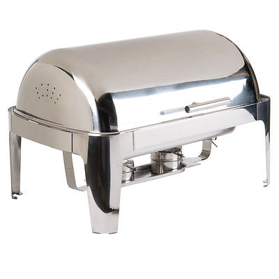 Choice Supreme 8 Qt. Full Size Stainless Steel Roll Top Chrome Trim Chafer