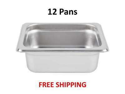 """(12-Pack) 1/6 Size Stainless Steel Silver Steam Table / Hotel Pans - 2 1/2"""" Deep"""