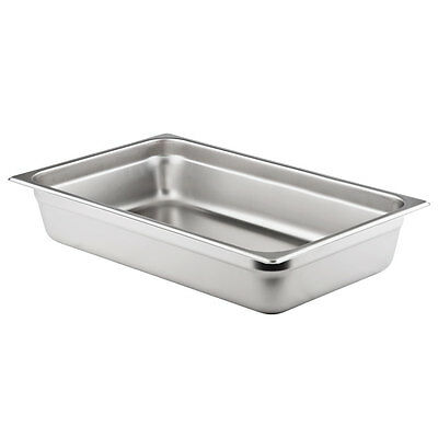 "Full Size 4"" Deep Stainless Steel Hotel Food Pan for 8 Qt. Chafing Dishes"