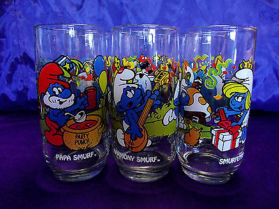1983 Complete Set of 6 Smurf Character Glasses Peyo