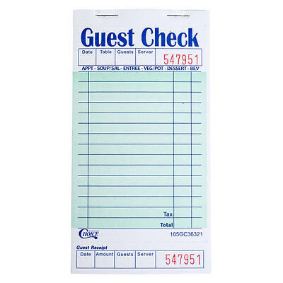 1 Part Green and White Guest Check with Bottom Guest Receipt - 50 Books / Case