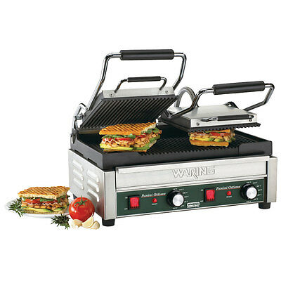 Waring WPG300 Panini Ottimo Grooved Top & Bottom Panini Sandwich Grill 240 Volt