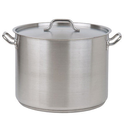 24 Qt. Heavy-Duty Aluminum / Stainless Steel Silver Stock Pot with Lid Cover