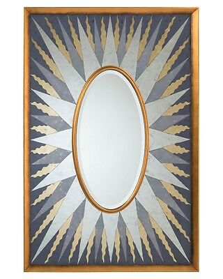 """74"""" H Center Oval Modern Beveled Mirror Gold Frame Turn  Surrounded Silver Rays"""