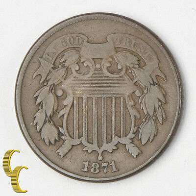 1871 US Shield Two Cents 2c (Very Good, VG) All Brown Color, Full Strong Rims!