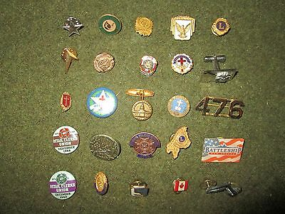 Vintage Military and Civilian Pin Lot of 25
